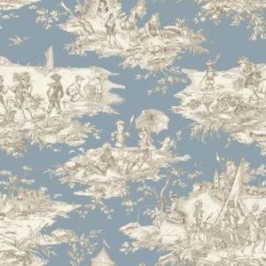 tissu coton ameublement histoire d'eau bleu