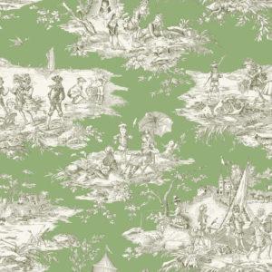 tissu coton ameublement histoire d'eau pistache