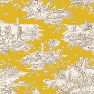 tissu coton ameublement histoire d'eau moutarde
