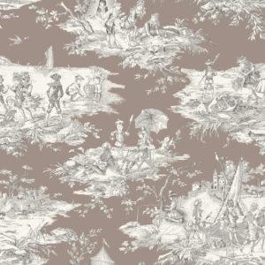 tissu coton ameublement histoire d'eau taupe