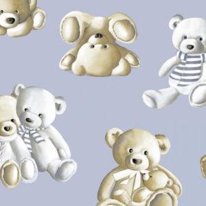 tissu coton ameublement teddy bleu