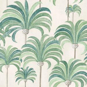 tissu coton ameublement la palmeraie vert