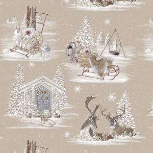tissu coton ameublement rennes des neiges