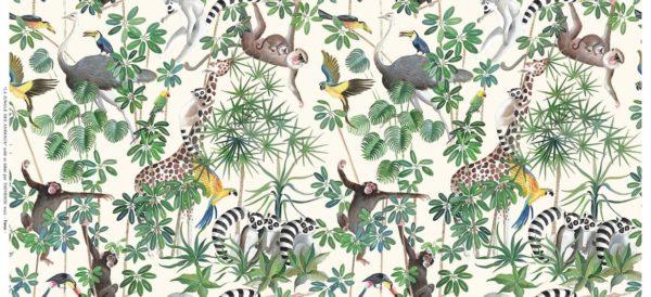 tissu coton enduit la jungle des animaux
