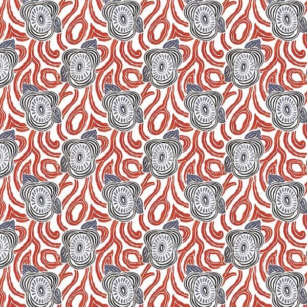 tissu coton enduit morning glory rouge