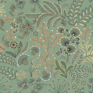 tissu coton enduit phoenix vert