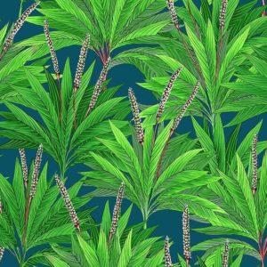 tissu coton ameublement small palm bleu