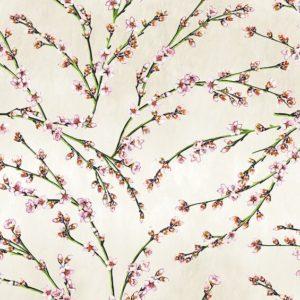 tissu coton ameublement fleurs d'amandier beige