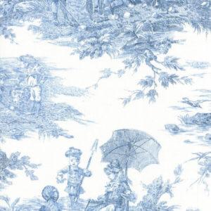 tissu coton ameublement histoire d'eau bleu blanc