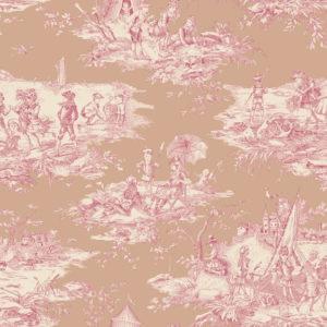 tissu coton ameublement histoire d'eau rose