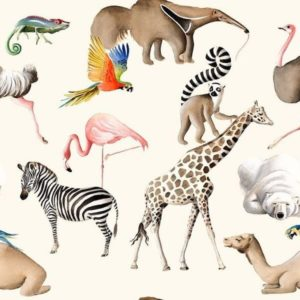 tissu coton ameublement tous au zoo