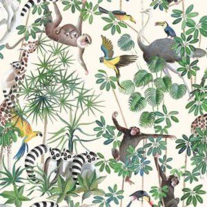 tissu coton ameublement la jungle des animaux