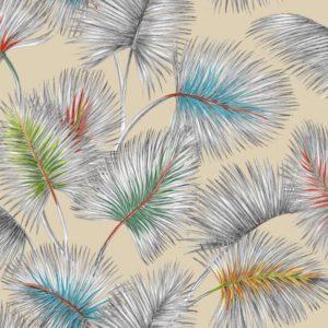 tissu lin imprimé palmy