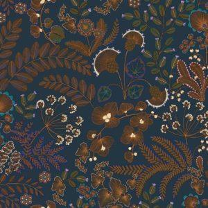 tissu coton ameublement phoenix bleu pétrole