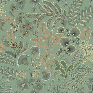 tissu coton ameublement phoenix vert