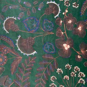 tissu velours imprimés phoenix vert