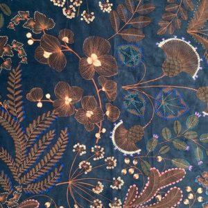 tissu velours imprimés phoenix bleu