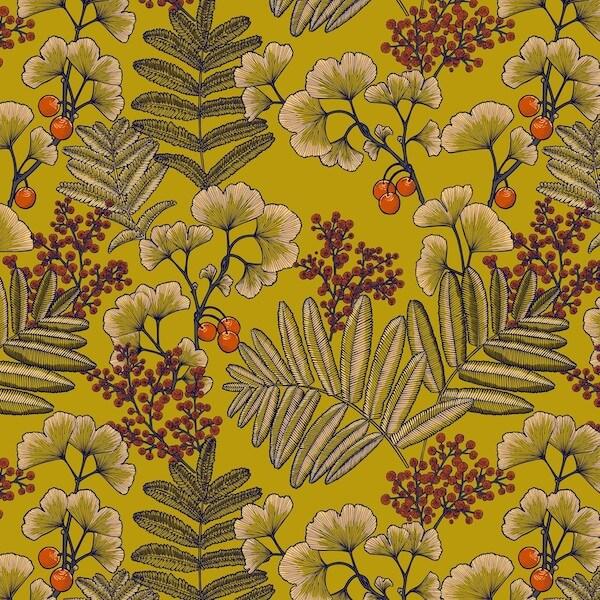 tissu velours imprimés victoria jaune