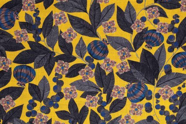 tissu lin imprimé fruit du paradis jaune
