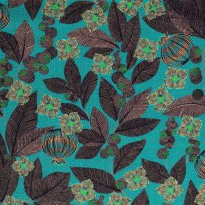 tissu lin imprimé fruit du paradis menthe