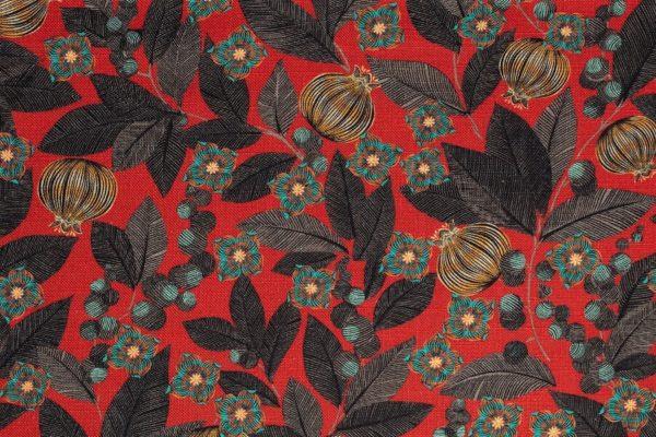 tissu lin imprimé fruit du paradis rouge