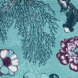 tissu coton ameublement poetic undersea turquoise