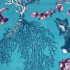 tissu coton ameublement poetic undersea bleu