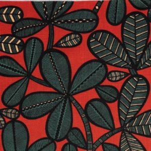 tissu lin imprimé fao rouge